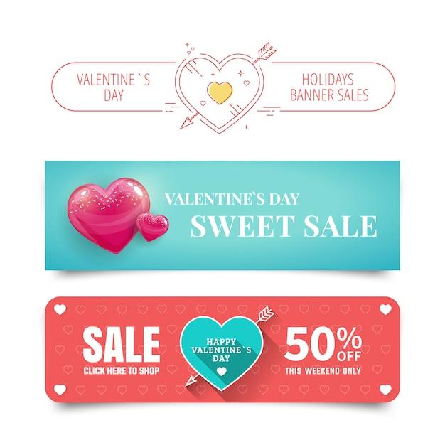 Valentijnsdag verkoop banners met hart Premium Vector