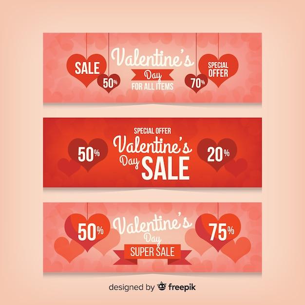 Valentijnsdag verkoop banners pack Gratis Vector