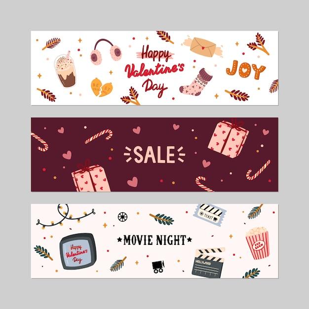 Valentijnsdag verkoop banners set Premium Vector