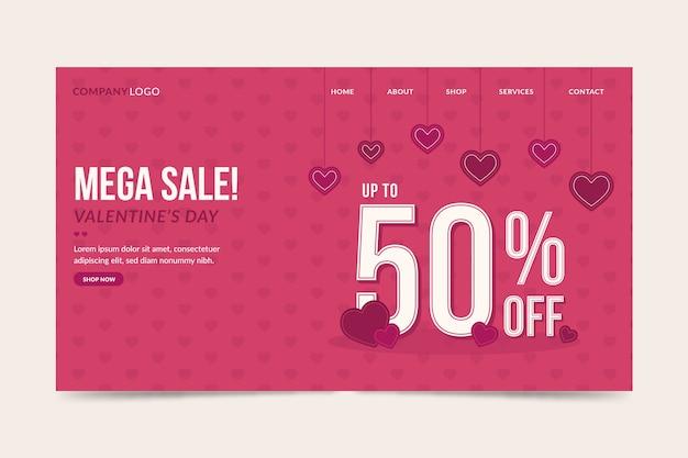 Valentijnsdag verkoop bestemmingspagina sjabloon Gratis Vector