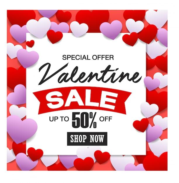 Valentijnsdag verkoop, discont-kaart. Premium Vector