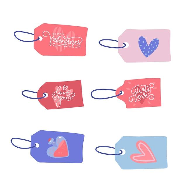 Valentijnsdag verkoop etiketten met touw Premium Vector