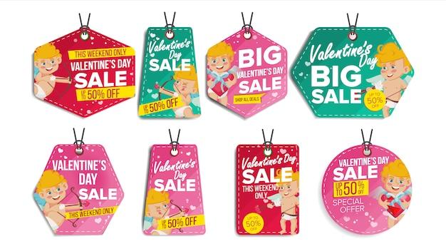 Valentijnsdag verkoop etiketten Premium Vector