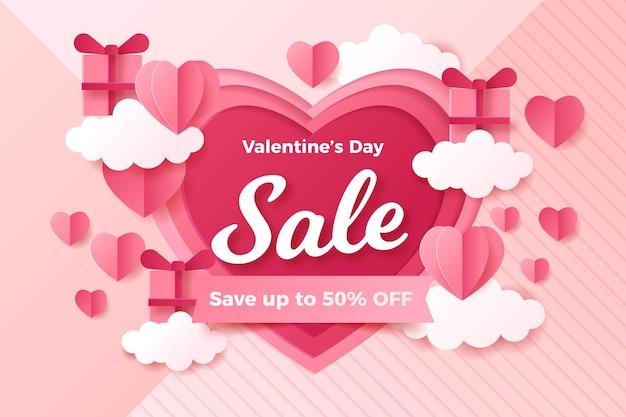 Valentijnsdag verkoop in papieren stijl Gratis Vector