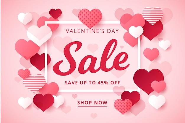 Valentijnsdag verkoop in plat ontwerp Gratis Vector