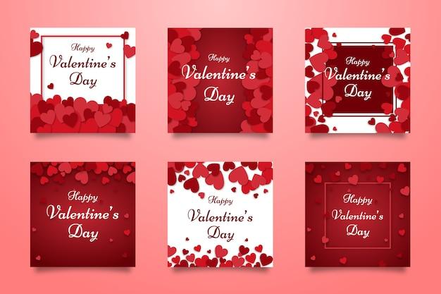 Valentijnsdag verkoop instagram post collectie Gratis Vector