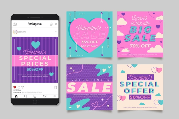 Valentijnsdag verkoop instagram post met telefoon Gratis Vector