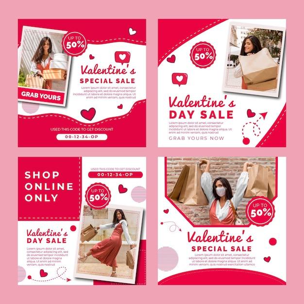 Valentijnsdag verkoop instagram posts collectie Gratis Vector