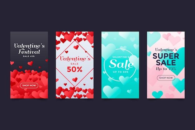 Valentijnsdag verkoop instagram verhaalcollectie Gratis Vector