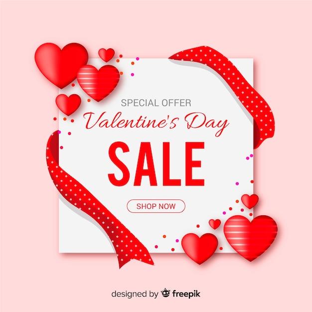 Valentijnsdag verkoop kaart Gratis Vector