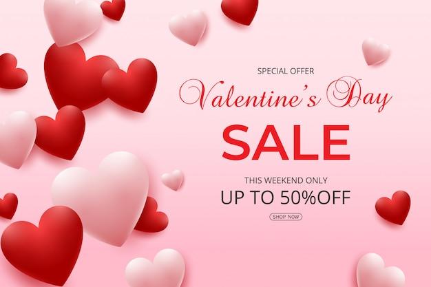 Valentijnsdag verkoop met roze en rode harten ballonnen Premium Vector