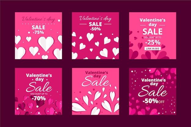 Valentijnsdag verkoop post set Gratis Vector