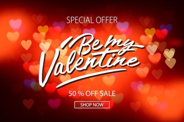Valentijnsdag verkoop poster met rode harten achtergrond, vectorillustratie. Premium Vector