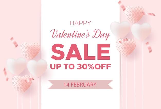 Valentijnsdag verkoop poster of spandoek met confetti, liefje Premium Vector