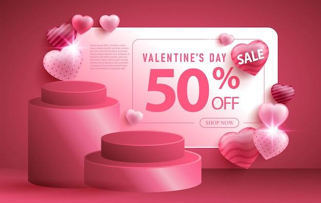 Valentijnsdag verkoop promotie banner met realistische haard of liefde vorm en 3d-podium Gratis Vector