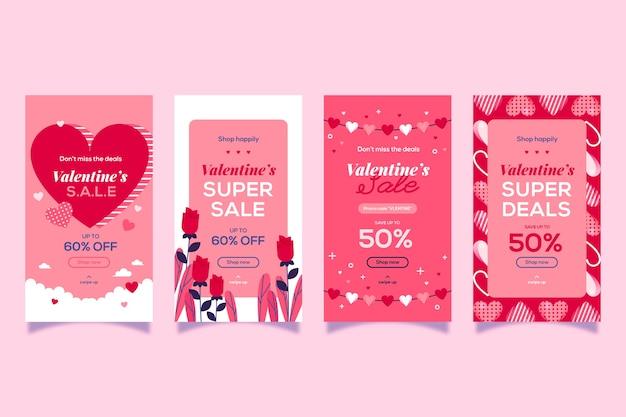 Valentijnsdag verkoop verhaal collectie ontwerp Gratis Vector