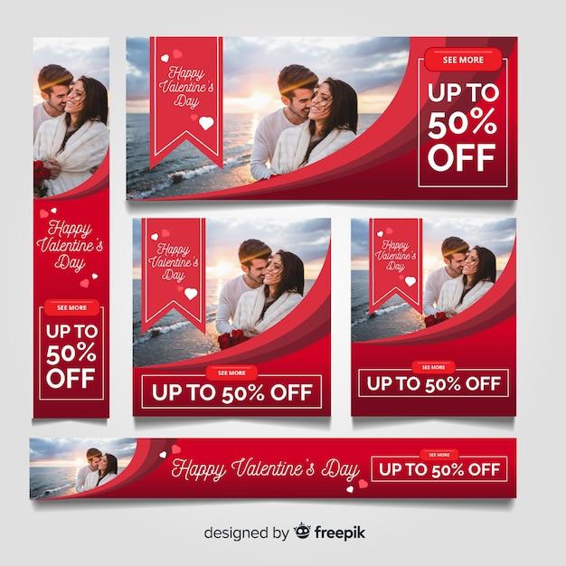 Valentijnsdag verkoop webbanners Gratis Vector