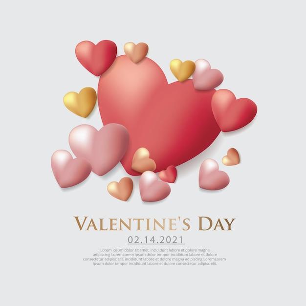 Valentijnsdag viering sjabloon illustratie Gratis Vector