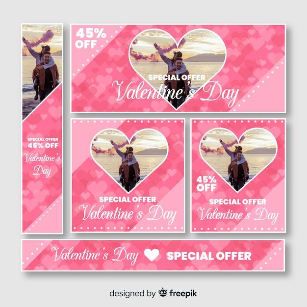 Valentijnsdag webbanner Gratis Vector