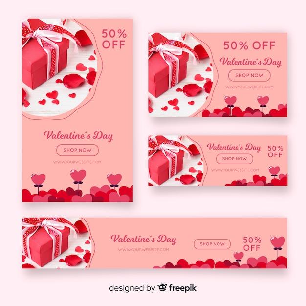 Valentijnsdag webbanners met foto Gratis Vector