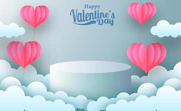 Valentijnsdag wenskaart marketing promotie banner met lege podium podium productvertoning met roze haard illustratie papier knippen stijl en blauwe pastel achtergrond Premium Vector