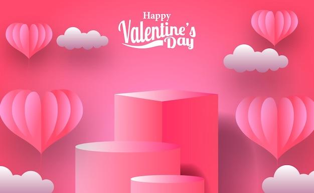 Valentijnsdag wenskaart marketing promotie banner met lege podium podium productvertoning met roze haard illustratie papier knippen stijl Premium Vector
