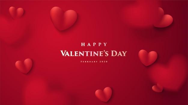 Valentijnsdag wenskaart. met een 3d illustratie van een rode liefdeballon en met het woord Premium Vector