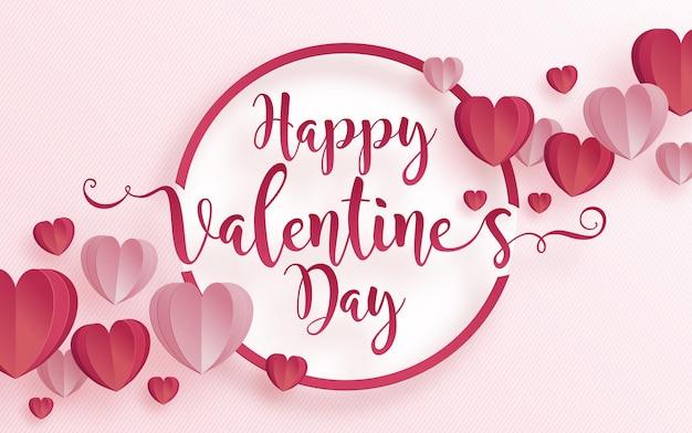 Valentijnsdag wenskaart met hart liefde en roos papier gesneden kunst en ambachtelijke stijl op papier voor gelukkige valentijnsdag Premium Vector
