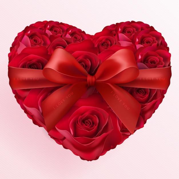 Valentijnsdag wenskaart met hart liefde en roos papier gesneden kunst en ambachtelijke stijl op papier voor happy valentine's day Premium Vector