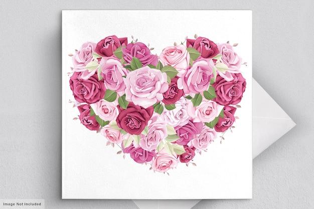 Valentijnsdag wenskaart met prachtige bloemen en bladeren Gratis Vector
