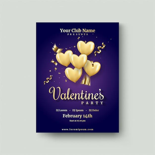 Valentijnsdagaffiche met gouden liefdeballon op donkerblauw Premium Vector