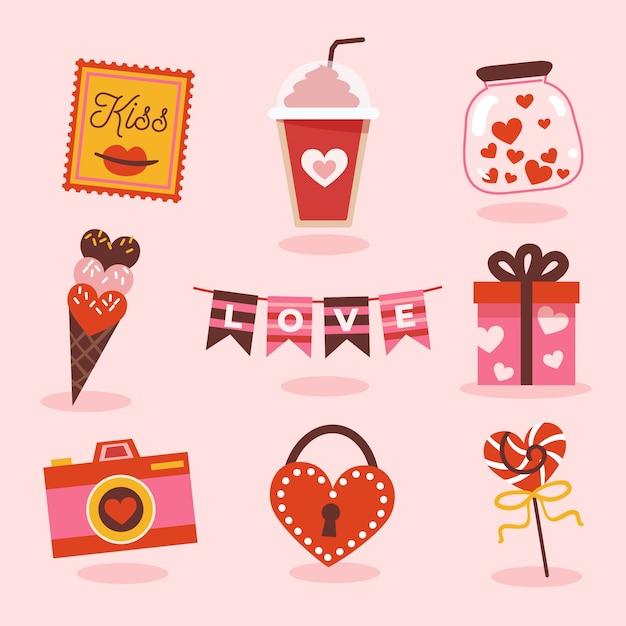 Valentijnsdagcollectie met snoep en geschenken Gratis Vector
