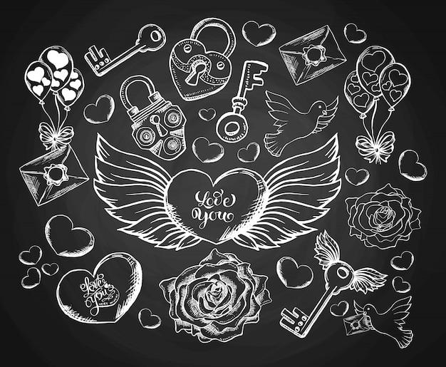 Valentijnsdaggravure set met envelop, horen, vleugels, duif en roos. Gratis Vector