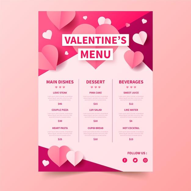 Valentijnsdagmenu met prijzen Gratis Vector