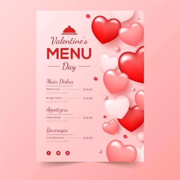 Valentijnsdagmenu met rood gevormde harten Gratis Vector