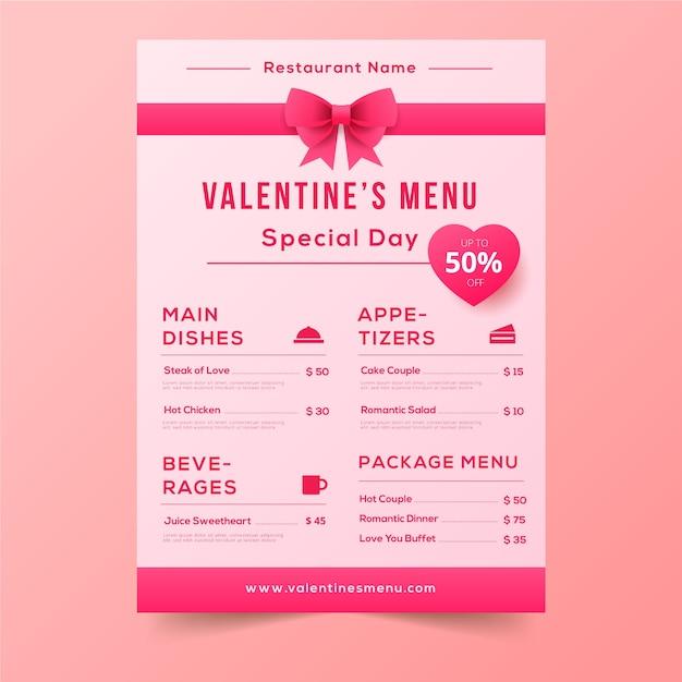 Valentijnsdagmenu met schattige roze linten Gratis Vector