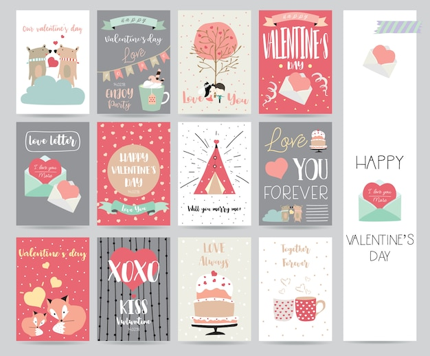 Valentijnsdagverzameling voor banners, aanplakbiljetten met cake, brief, lint, beer, hart en vos Premium Vector