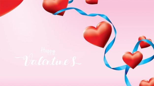 Valentine 3d kleurrijke rode romantische harten vorm vliegen en drijvende blauwe satijnen lint Premium Vector