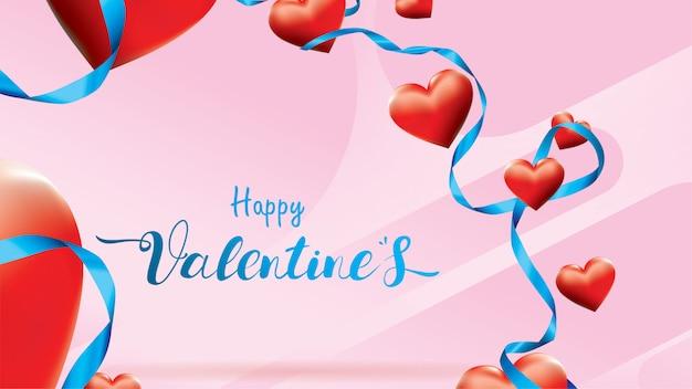 Valentine 3d kleurrijke rode romantische harten vorm vliegen en drijvende blauwe zijden lint op roze achtergrond. Premium Vector