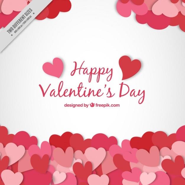 Valentine achtergrond met hartjes Gratis Vector