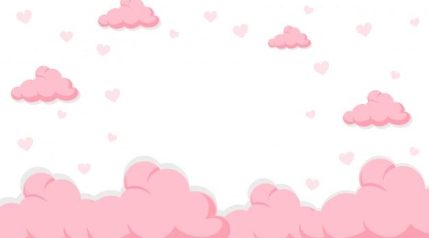 Valentine-banner met roze wolken aan de hemel Gratis Vector