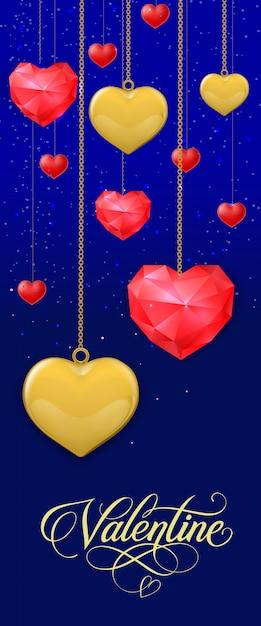 Valentine belettering en hangende harten Premium Vector