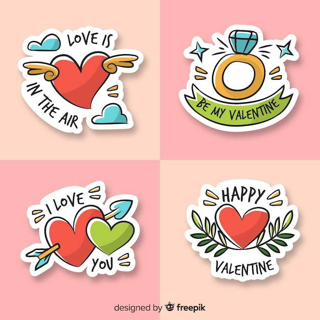 Valentine cartoon label pack Gratis Vector