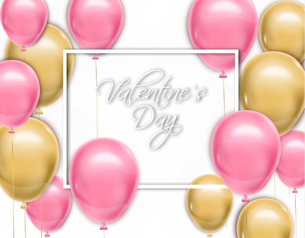 Valentine-dagkaart met ballons Premium Vector