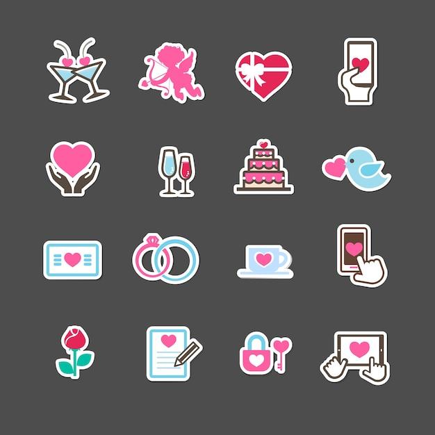 Valentine-dagliefde en geplaatste de decoratieappictogrammen van de huwelijkskaart Premium Vector
