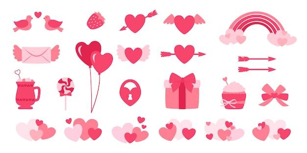 Valentine-dagontwerpelementen geplaatst vlak beeldverhaal Premium Vector