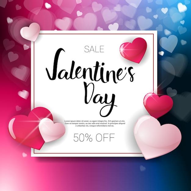 Valentine day sale flyer template met exemplaar ruimtevakantie discouns concept Premium Vector