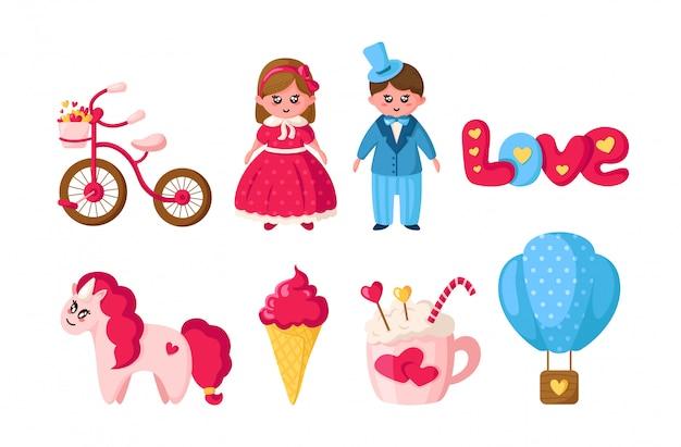 Valentine day set, cartoon kawaii meisje en jongen in retro kleding, schattige dieren - eenhoorn, romantische dingen Premium Vector