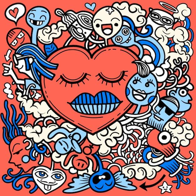 Valentine doodle hand tekenen liefde, romantische elementen collectie. Premium Vector