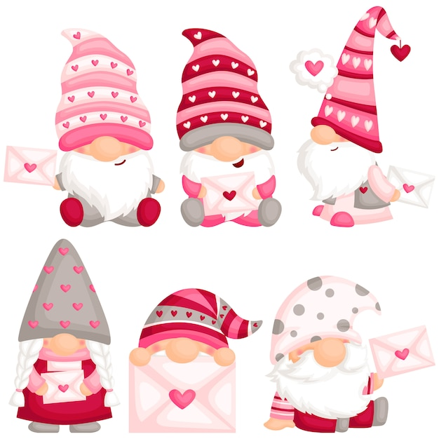 Valentine gnome met liefdesbrief Premium Vector